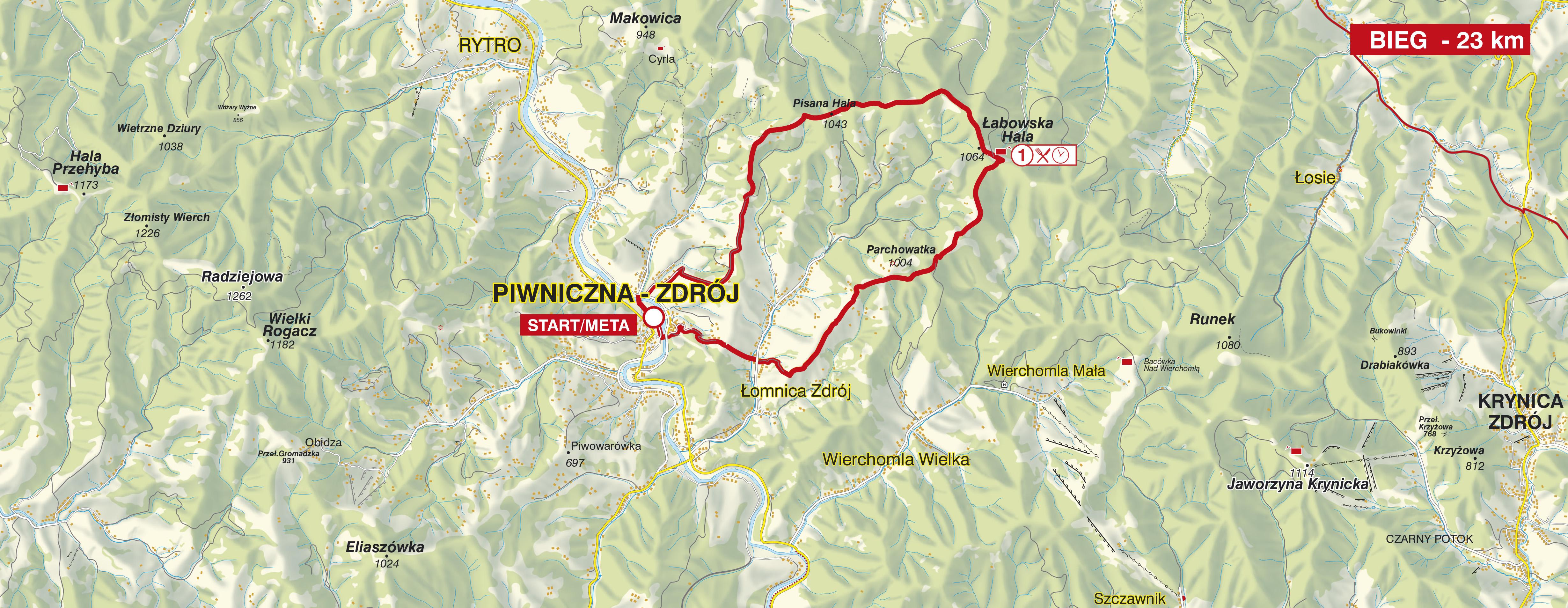Bieg Górski na 23 km trasa - mapa
